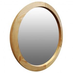 круглое зеркало в деревянной раме пихта